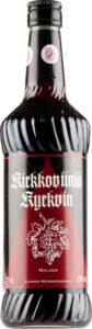 Punaviiniä sisältävä lasipullo, jossa punamusta etiketti tekstillä Kirkkoviini Kyrkvin.