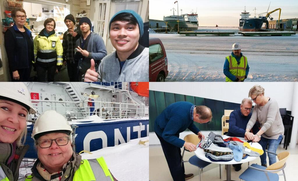 Kuvakollaasi neljästä kuvasta, joista kolmessa hymyileviä vapaaehtoisia on menossa laivalle tai on laivalla ja yhdessä mitataan merenkulkijoille lahjoitettavien villasukkien kokoja.