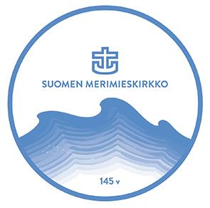 Vuoden 2020 kesäjuhlalogo, jossa aaltokuvio ja Merimieskirkon ikää kuvaava vuosi 145.