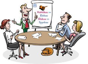 Neljä hahmoa kokouspöydän äärellä. Fläppitaulun teksti kertoo huhtikuun kokouksen siirtyvän elokuulle ja elokuun kokouksen syyskuulle. Piirroskuva.