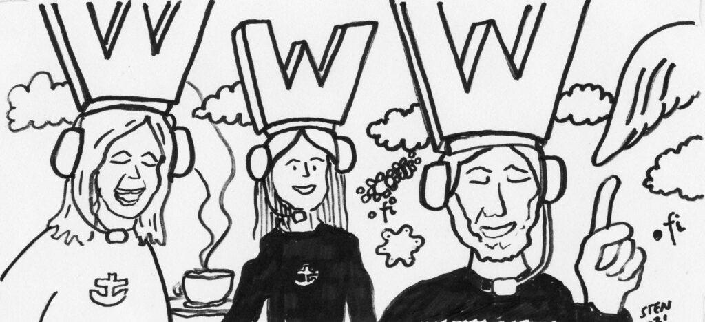 """""""Kolme pastoria Merimieskirkon logot paidoissaan pitää etätilaisuutta kuulokkeet korvillaan. Heillä on w-kirjaimen muotoinen päähine, joista muodostuu www-symboli."""""""
